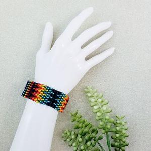 Handcrafted Boho Rainbow Seed Bead Bracelet